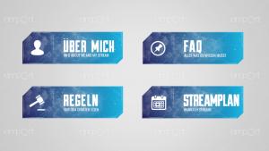 Twitch Panels OBS ready dunkelblau hellblau farbverlauf mit Icons