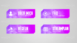 Twitch Panels OBS ready blau pink modern farbverlauf mit Icons