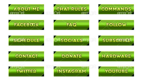 Twitch Panels OBS ready hellgrün farbverlauf dunkelgrün mit Icons