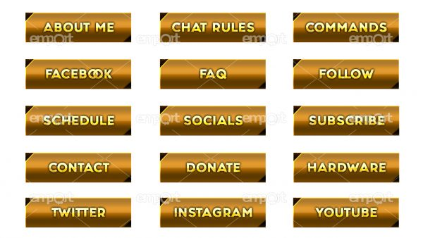Twitch Panels OBS ready gold mit Icons