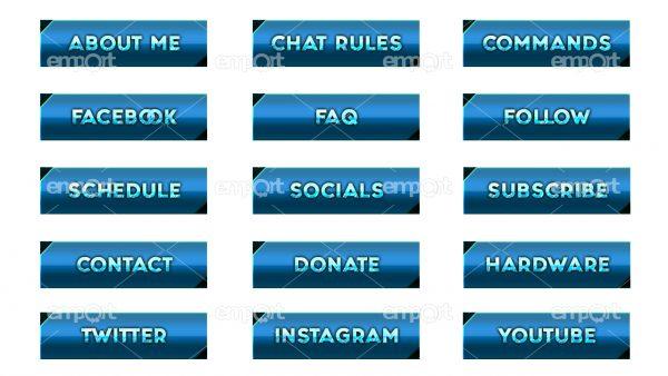 Twitch Panels OBS ready hellblau farbverlauf dunkelblau mit Icons  Eisoptik frozen