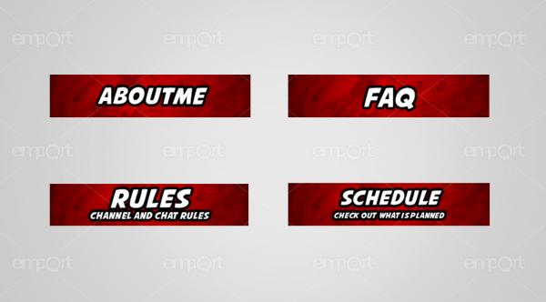 Twitch Panels OBS ready dunkelrot farbverlauf mit Icons