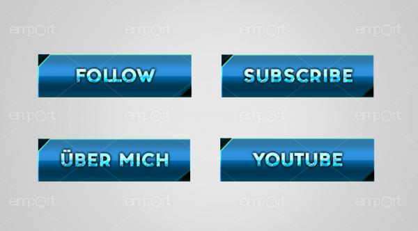 Twitch Panels OBS ready hellblau farbverlauf dunkelblau mit Icons  Eisoptik frozen  Subscriber Follow Über MIch