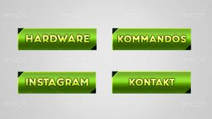 Twitch Panels OBS ready hellgrün farbverlauf dunkelgrün mit Icons Hardware KOmmands Instagram Kontakt