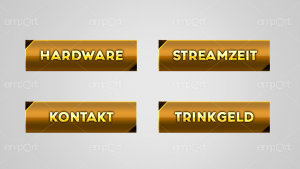 Twitch Panels OBS ready gold mit Icons  Hardware Streamzeit Kontakt Trinkgeld