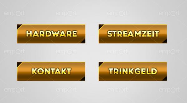 Twitch Panels OBS ready gold mit Icons  Hardware Streamzeit Kontakt Trinkgeld