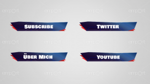 dunkelblau mit rot Twitch Panels mit Icons ready for OBS emport dunkel