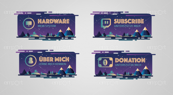 Twitch Panels lila dunkel mit Icons ready for OBS Nachthimmel