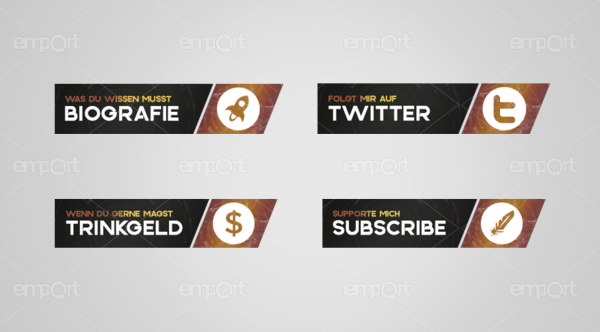 Twitch Panels OBS ready mit icons gold bräunlich