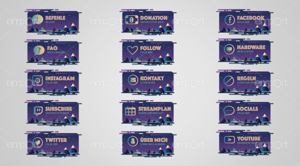 Twitch Panels lila dunkel mit Icons ready for OBS