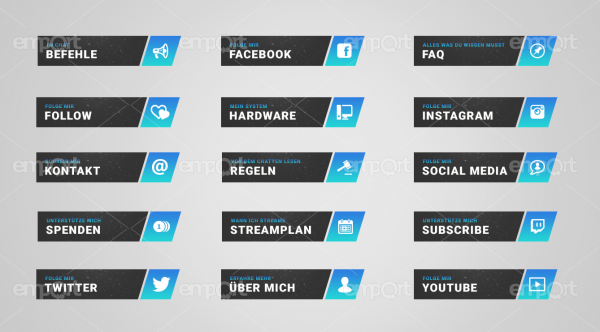 Twitch Panels OBS ready hellblau dunkelbla mit Icons