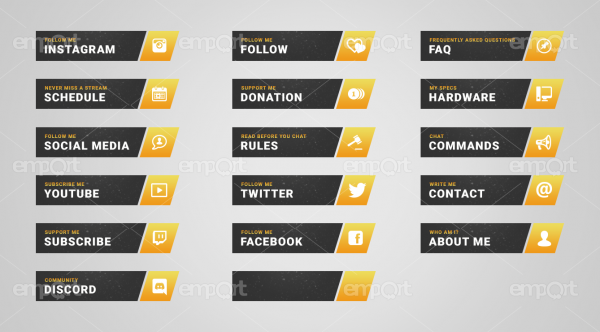 Twitch Panels OBS ready Icons Paket gelb orange gold
