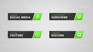 Twitch Panels Green OBS ready Icons Paket light green neon