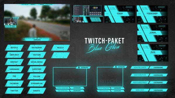 hellblau Twitch Panles Overlay Camframe Blue Glow