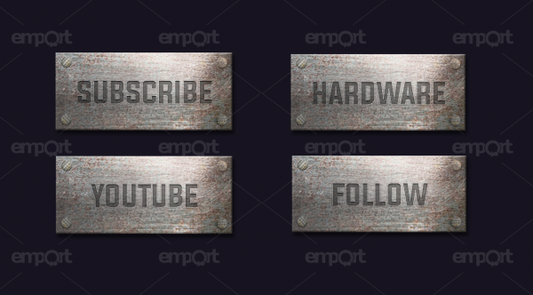 Metall Panels Twitch OBS ready Panzer rost silber Subscribe Follow Hardware Youtube