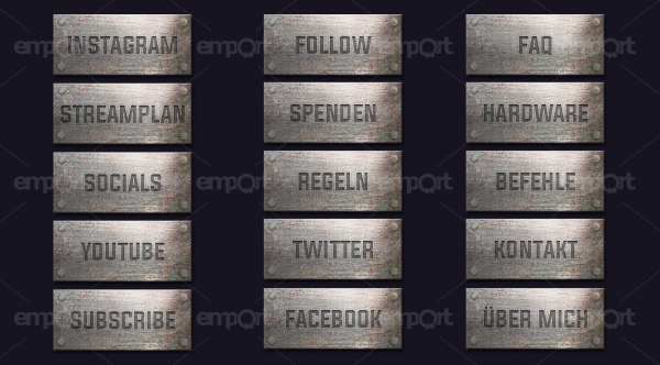 Metall Panels Twitch OBS ready Panzer rost silber